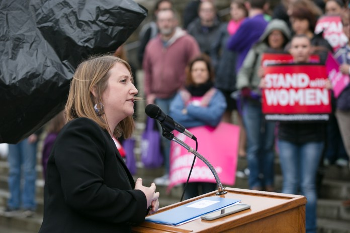 Noel Frame at a Stand with Women rally