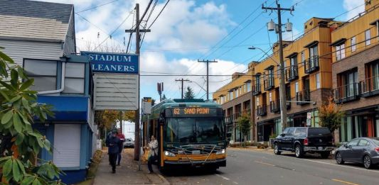 Riders exiting a Route 62 bus in Bryant.