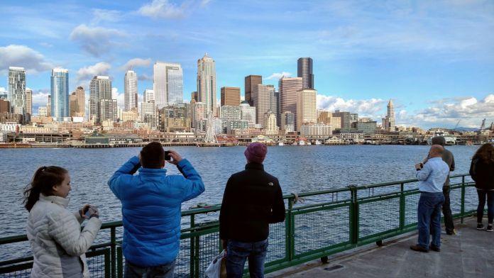 Downtown Seattle skyscrapers seen from a ferry in Elliott Bay
