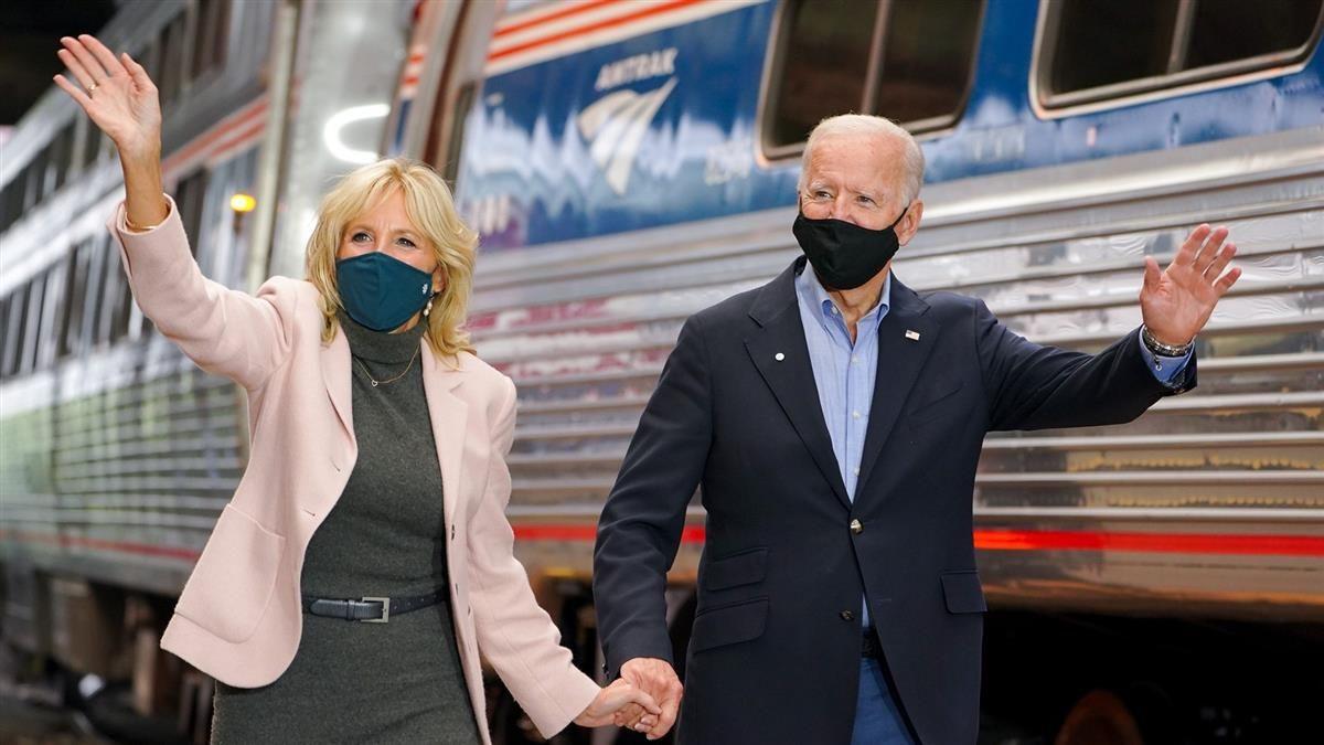 Joe and Jill Biden next to Amtrak train Courtesy of campaign - Joe Biden the railroad President