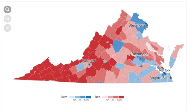 The various independent cities of Virginia show up brightly in this year's election map. Enclaves of blue voters in large swaths of red show the independent cities nestled throughout counties in the Shenandoah Valley. (New York Times)