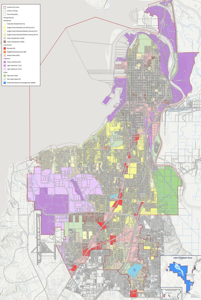 The new zoning map for Everett. (City of Everett)