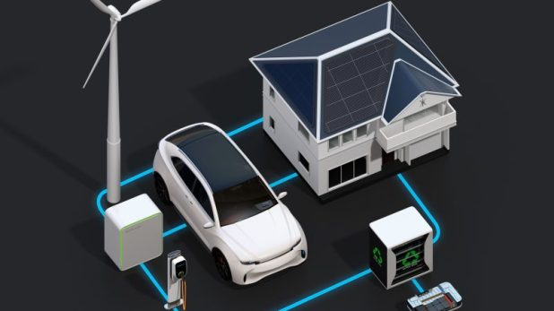 A graphic showing an electric car plugged into a grid with a wind turbine and a building with solar panels on its roof.