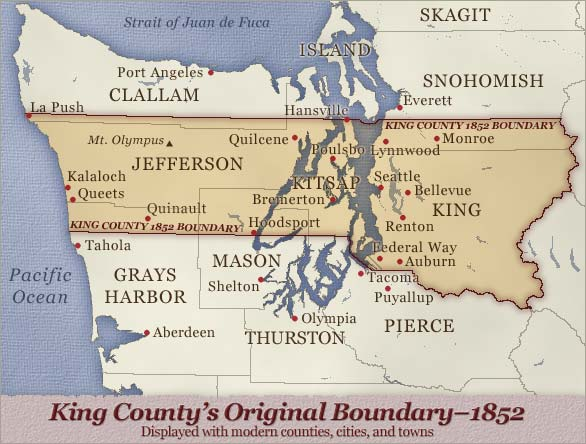 Map shows King County's 1852 boundary which included Kitsap and much of the Olympia peninsula. Jefferson and Kitsap counties have since been carved out of former King. Mason, Grays Harbor, and Clallam also nibbled at former King's edges.