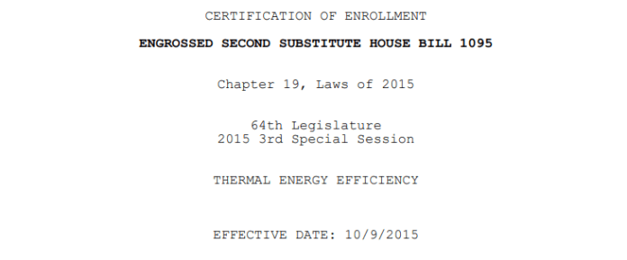 ESSHB 1095, which codified Washington's consideration of CHP/district heat systems. (Credit: Washington State)