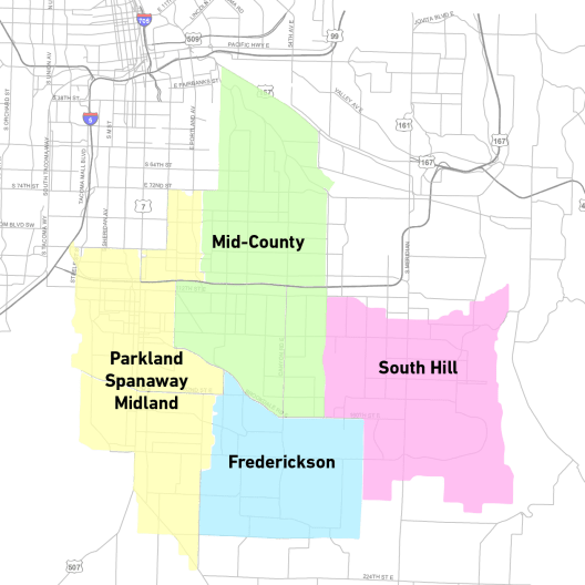 The relationship of the four communities covered by the planning process. (Credit: Pierce County)