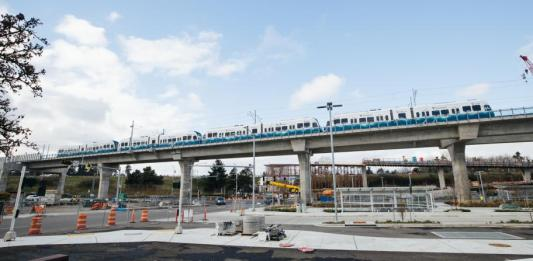 New elevated section of track near Northgate Station with light rail vehicle testing. (Sound Transit)