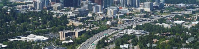 An aerial image showing Downtown Bellevue and I-405 from the south.