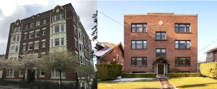 The Narada Apartments and nearby six-plexes add to Queen Anne's neighborhood character and are nothing more than simple boxes with multiple units and rich materials. (Left Image: Zillow; Right Image: Redside Partners)