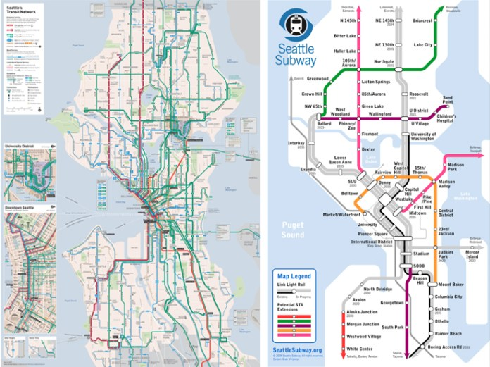 Our bus system is robust and connects all of Seattle where the more regional Link cannot reach. Sound Transit 4 will upgrade many of these routes and allow our bus upgrades to be used on other lines. (Left Image: Transit Map; Right Image: Seattle Subway)