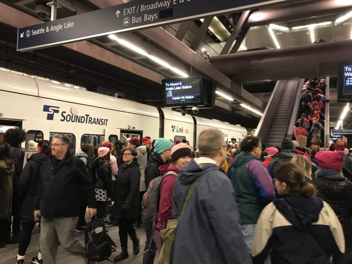 A very busy Capitol Hill Station with arrived trains.