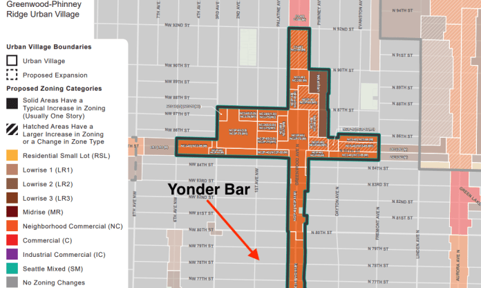 Yonder Bar's location at 7800 1st Avenue NW highlighted on the ridiculous zoning map of Greenwood. (Office of Planning and Community Development).