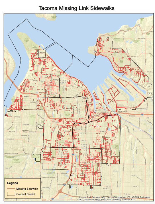 A map of missing sidewalks in Tacoma shows widespread gaps. (Credit: City of Tacoma)