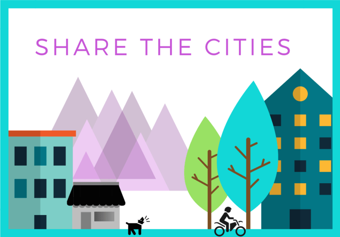 Housing, mountains, trees, a person biking, and a dog are in the Share The Cities logo.