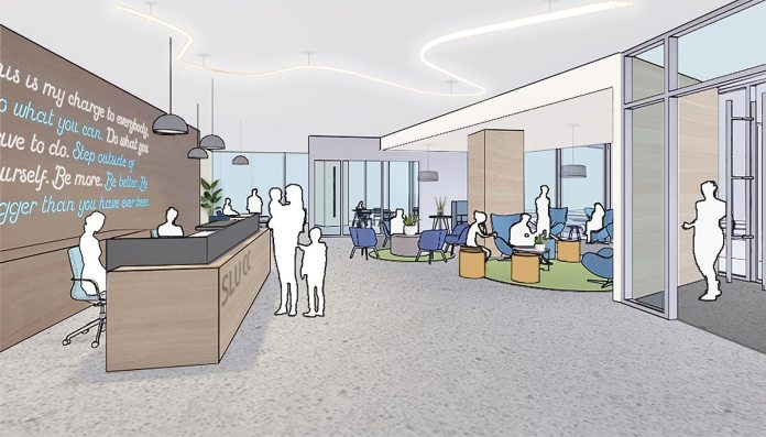 A rendering of the reception area of the community center.
