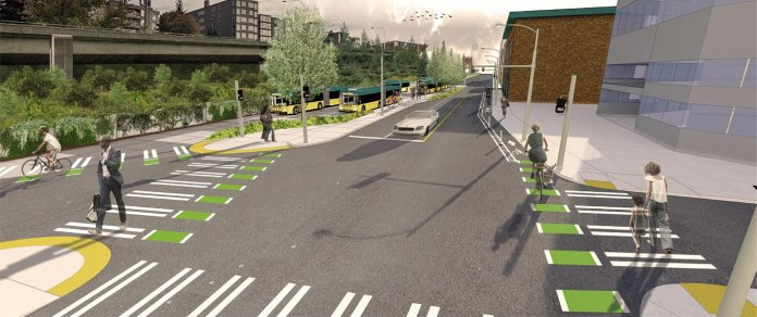 A rendering view of the Roy Street and Eastlake Ave E intersection. (King County)