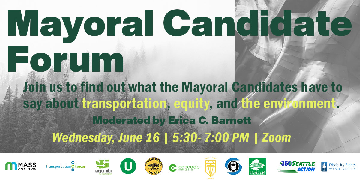 Mayoral candidate forum hosted by MASS and allies on June 16th 5:30pm to 7:00pm. Image: forest fire and logos of sponsors.