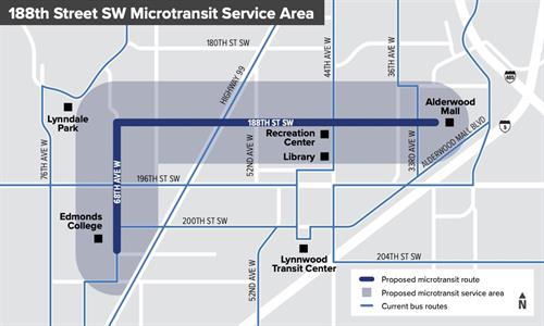 The conceptual 188th St SW/68th Ave W microtransit service area. (Community Transit)