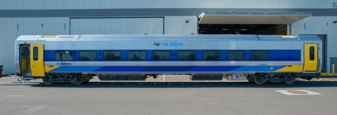 Venture coach in Amtrak San Joaquins livery. (State of California)