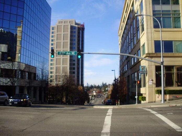 A crosswalk in Downtown Bellevue.