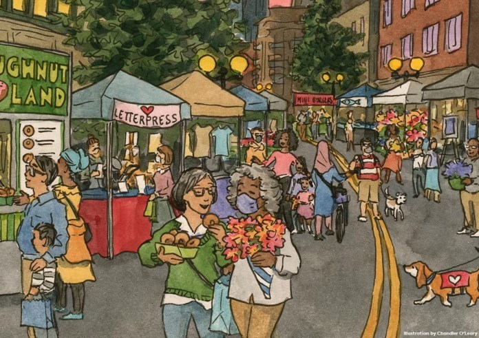 A drawing depicting a Downtown Seattle Night Market Art with shoppers, diners, and people walking with their dogs among the booths.