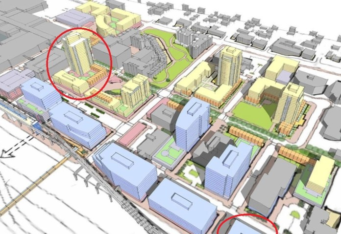 A concept render of possible developments on Northgate's parking lots and underdeveloped sites