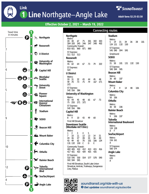 An excerpt from the new 1 Line schedule booklet. (Credit: Sound Transit)