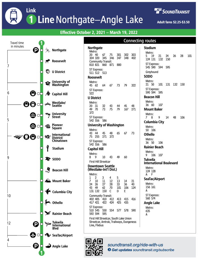 A map representing the Sound Transit Link 1 Line route with all stations and connecting bus routes listed.