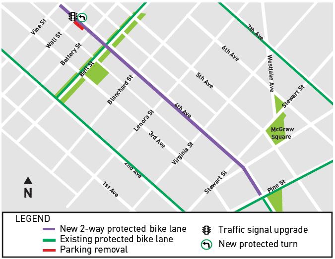 Map of bike lane between Pine and Vine