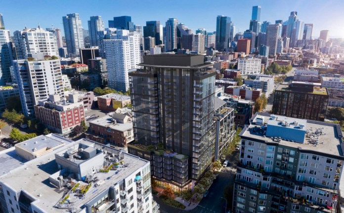 A rendering of the 19-story proposal with Belltown and Downtown skyline in the background.
