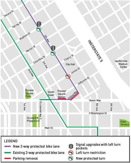 Map of bike lane between Seneca and Yesler