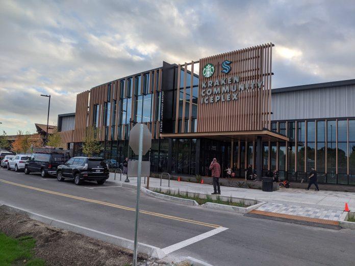 Photo of the eastern facade of the Kraken Community Iceplex
