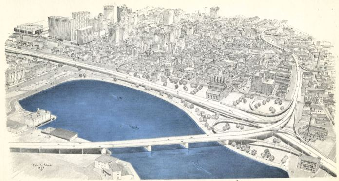 The black and white rendering shows a interchange connecting three busy highways. A bridge is shown running through the harbor. The water of the harbor is shown in blue.
