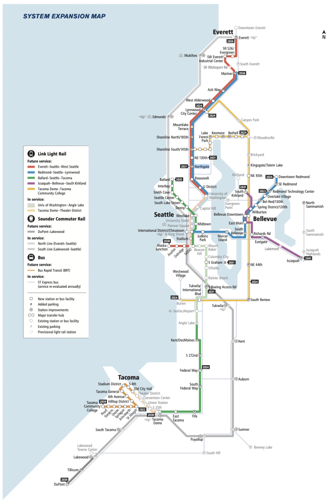 Pre-Realignment ST3 map shows Everett Link opening in 2036, Ballard Link in 2035, and Tacoma Dome Link and West Seattle Link in 2030.
