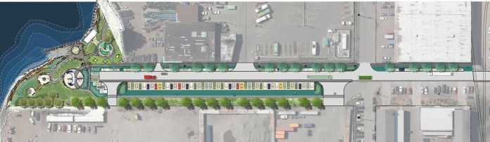 A graphic showing the plans to create a connection on 8th Avenue S. in Georgetown.