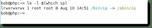 ip has a symlink in the /bin directory