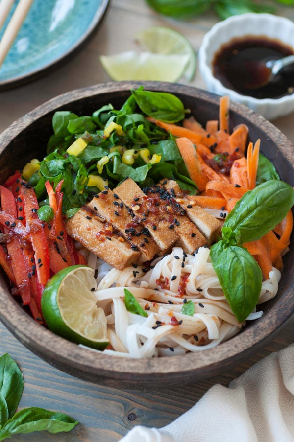 Chilled Smoked Tofu & Sesame Rice Noodle Salad
