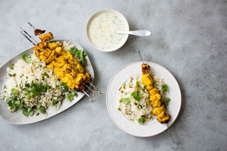 An Easy Weeknight Dinner: Grilled Chicken Kebabs over Basmati Rice