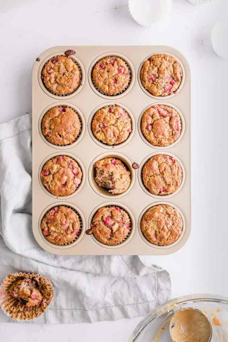 Strawberry Banana Chickpea Muffins (Gluten-Free)