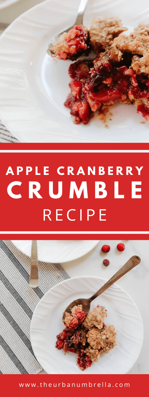 This sweet and tart Apple Cranberry Crumble Recipe is a fast, easy, and delicious fall recipe. It's great as both a breakfast or a dessert dish. Simply serve with ice cream for dessert, or yogurt for breakfast!