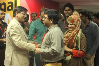 at national hackathon wahid and nilim taking awards from minister