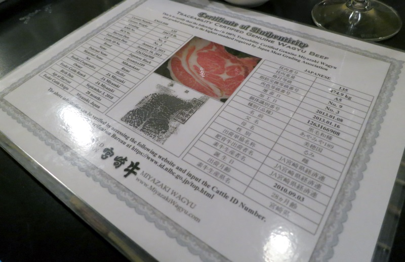 miyazaki beef authenticity certificate naked fish