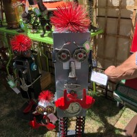 Backstage at The Utah Arts Festival 2018: Kevin Sybrowsky's metal artworks synthesize vintage durable manufactured goods with witty contemporary reflections