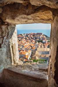 Aerial View on the Old City of Dubrovnik from the City Walls, Croatia