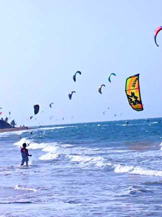 Kite surfing near Encuentro Beach, Dominican Republic