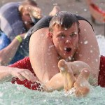 A competitor at the Wife Carrying World Championships in Finland
