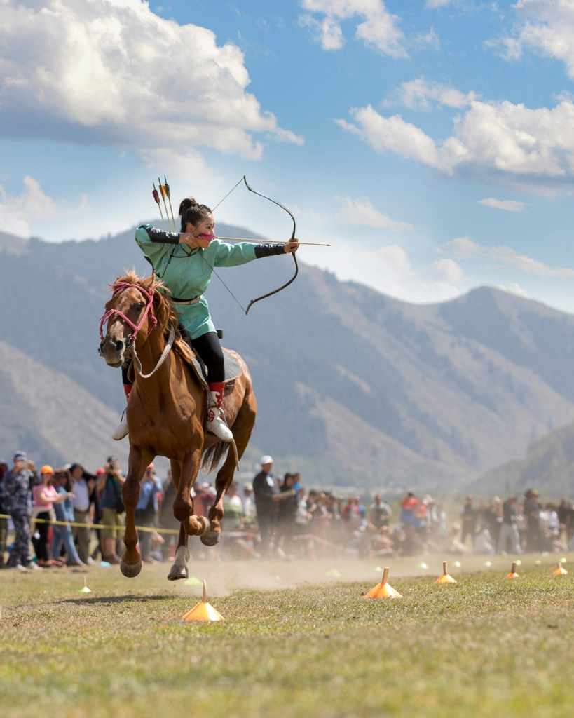 Female horse archer at the World Nomad Games (Shutterstock)