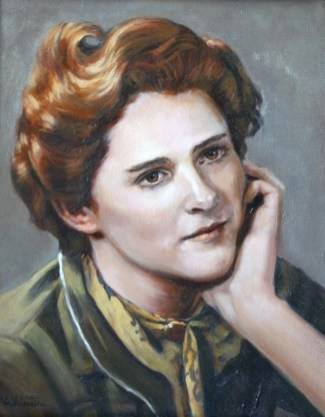 Portrait in Oils from a black and white photo by Annabelle Valentine