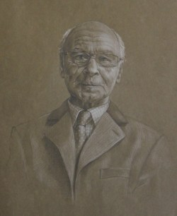 Portrait drawing in pencil and pastel pencils on tinted paper by Annabelle Valentine