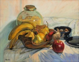 Bananas, a still life painting in oils by Annabelle Valentine